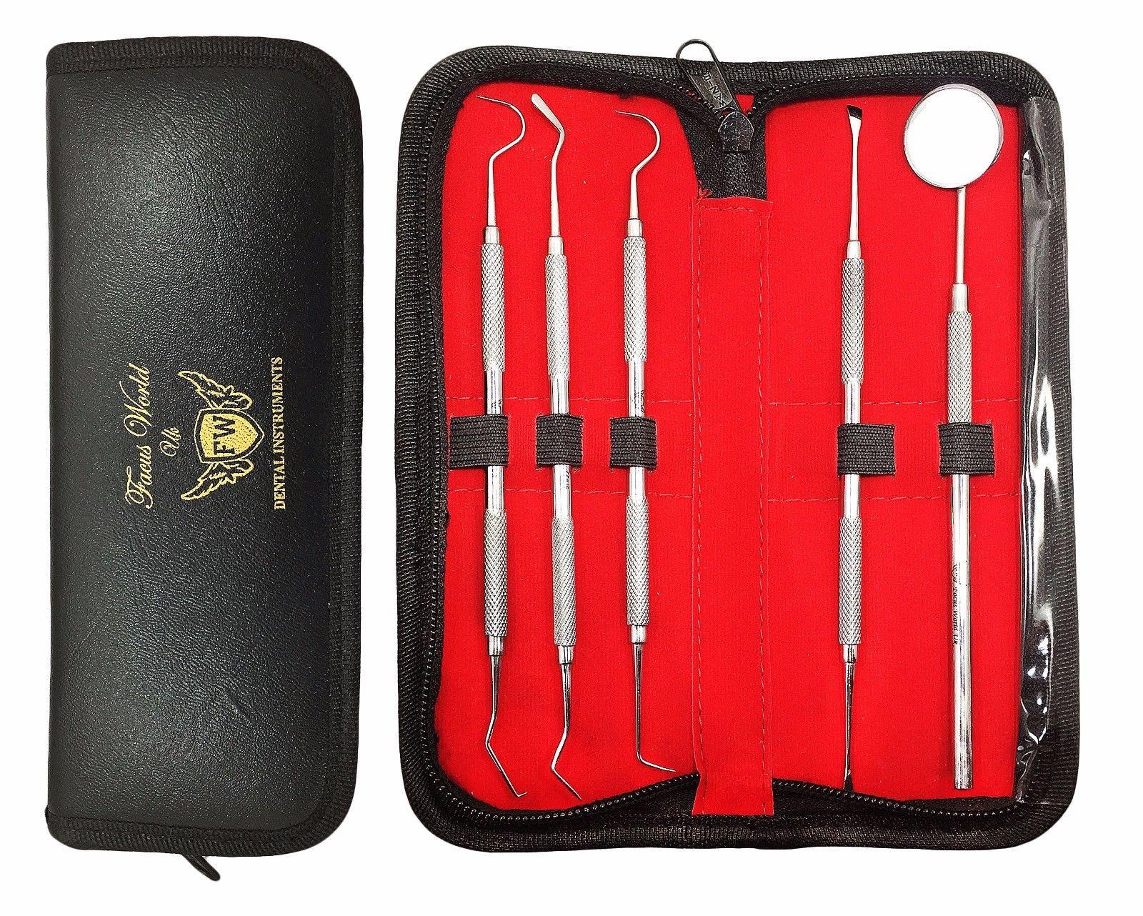 Laadukas hampaidenhoitosetti, 5 instrumenttia joista 4 tuplapäällä