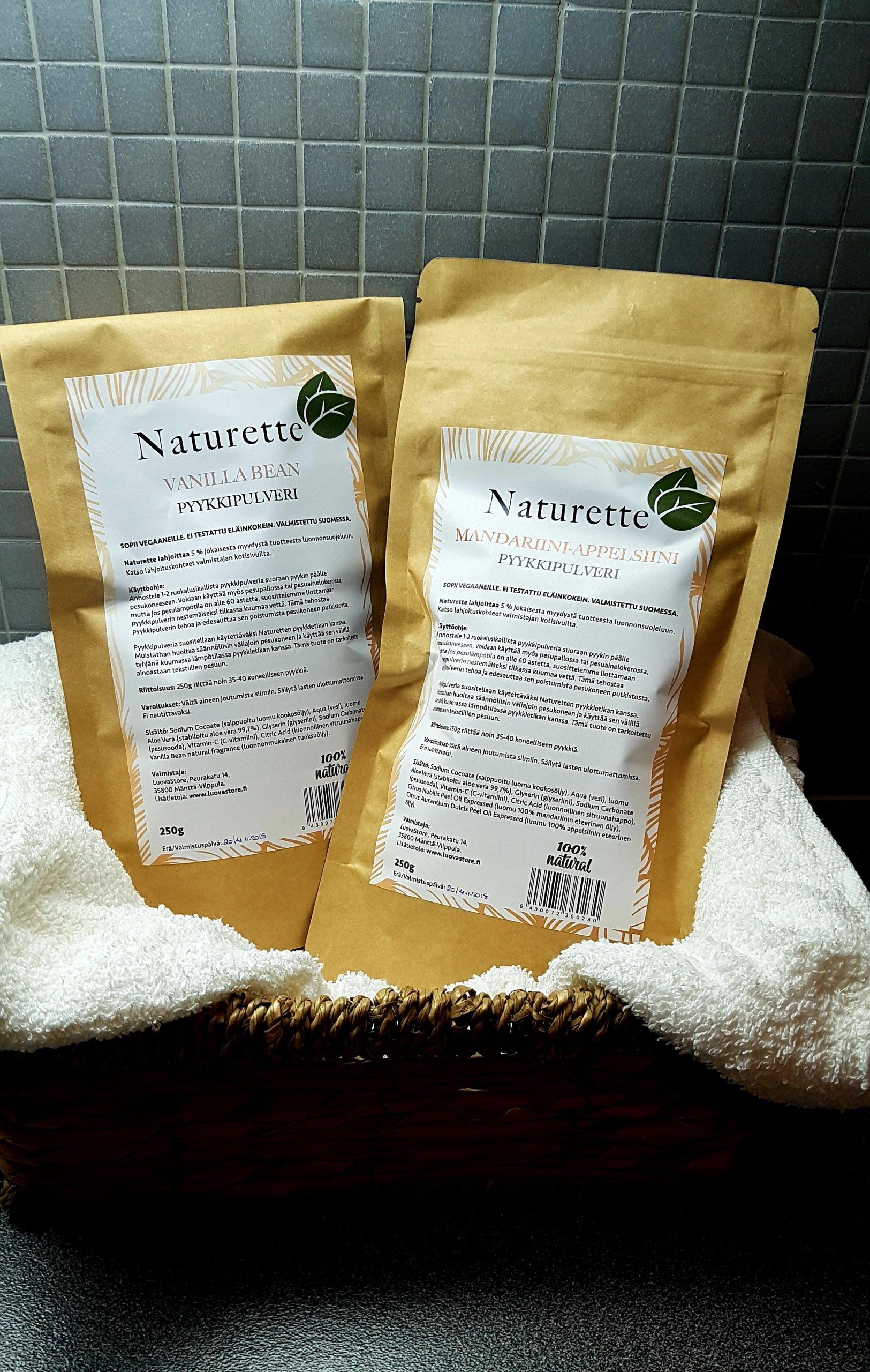 NATURETTE, pyykkipulveri Mandariini-Appelsiini, 250g – ekologinen, kotimainen, luomu