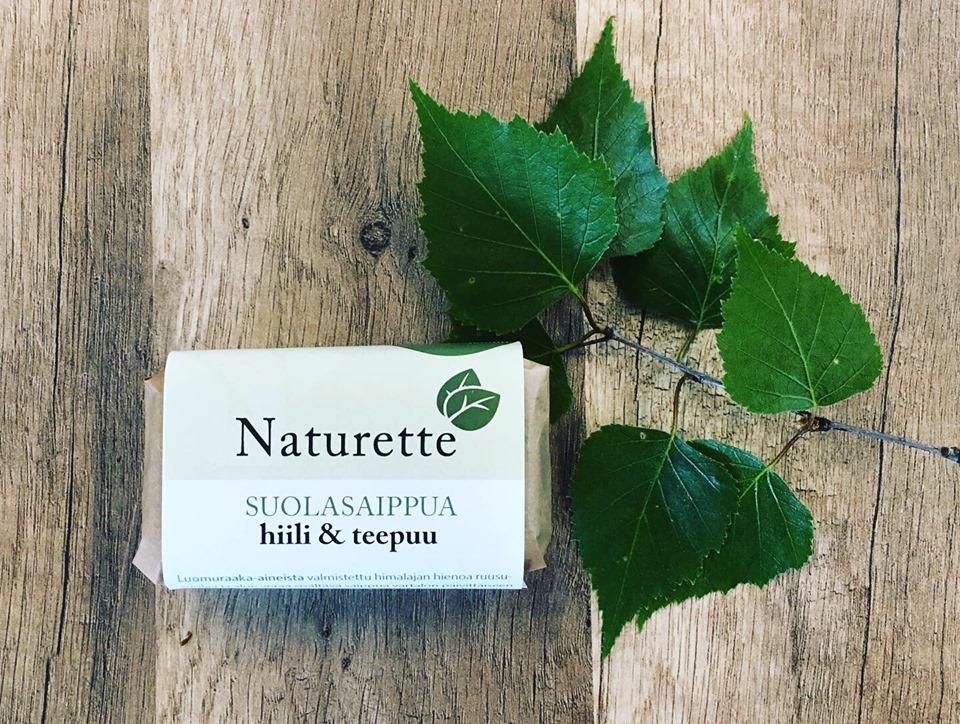 NATURETTE suolasaippua – hiili- & teepuu, n. 120g