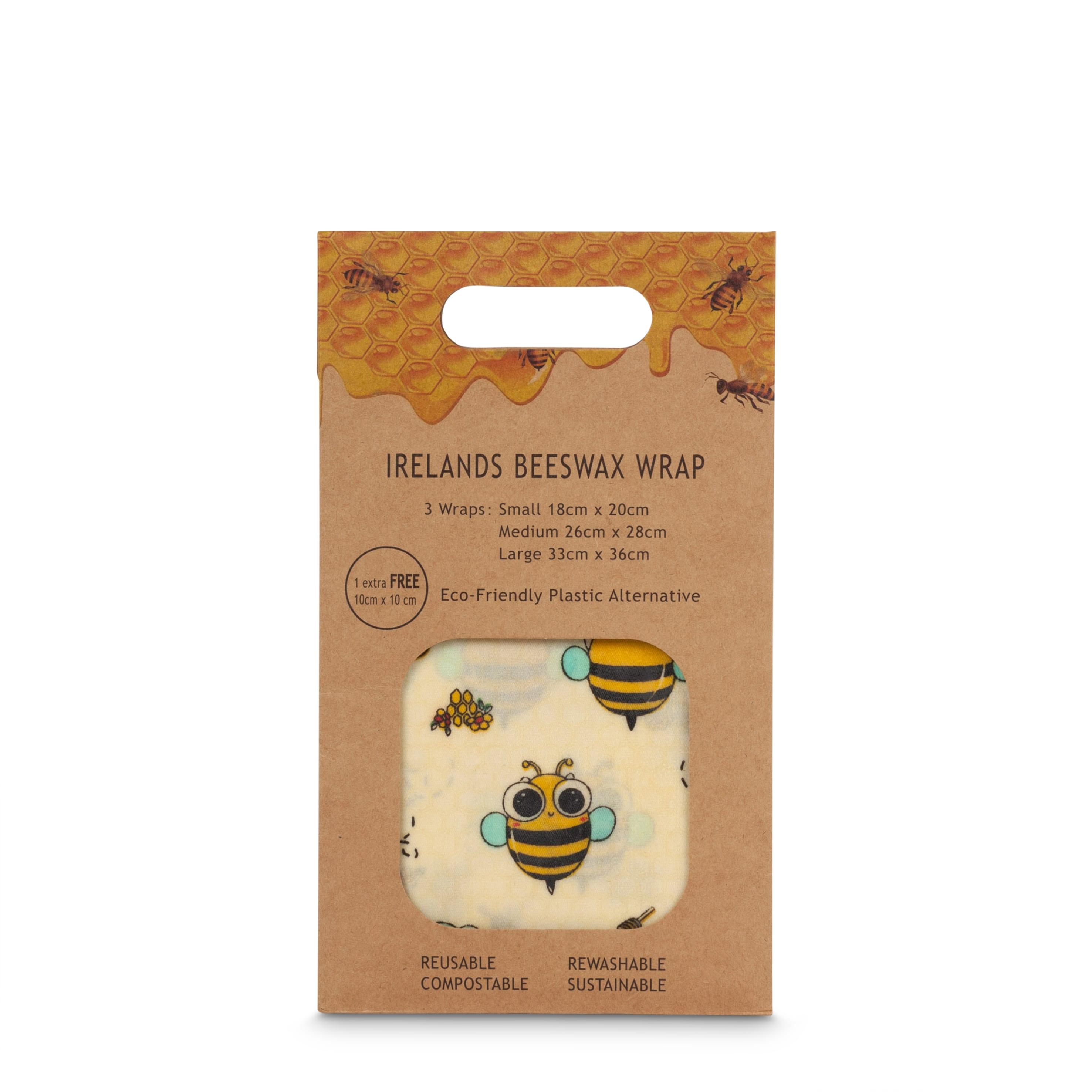Mehiläisvahakelmu ihanilla kuoseilla, 4-pakkaus, kääreiden koot S, M, L, XL